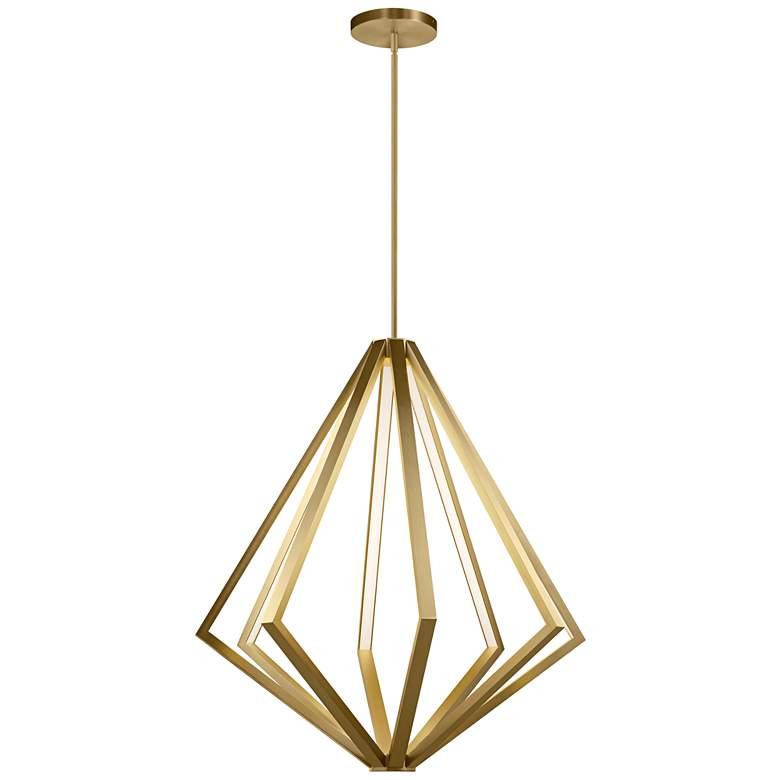 """Elan Everest 32"""" Wide Champagne Gold 8-Light LED Chandelier"""