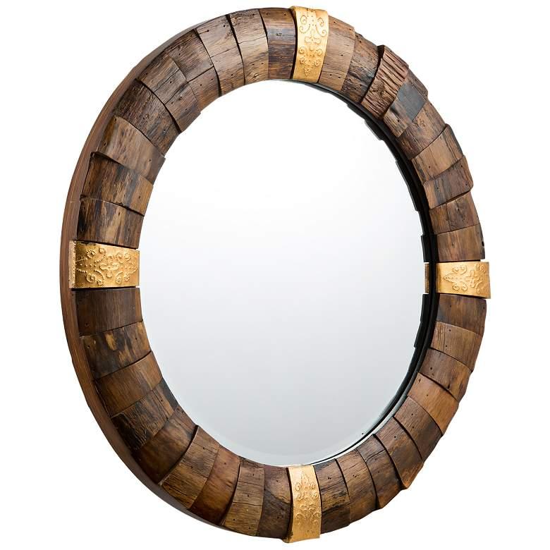 "Varaluz Casa True North Reclaimed Wood 30"" Round Wall Mirror"