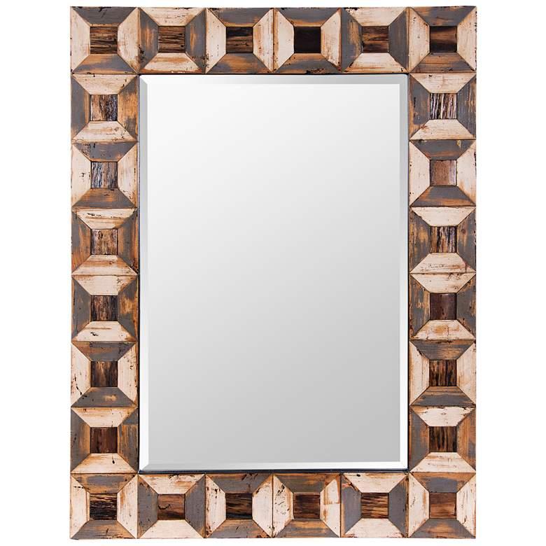 "Varaluz Casa Tiki Reclaimed Wood 30"" x 40"" Wall Mirror"