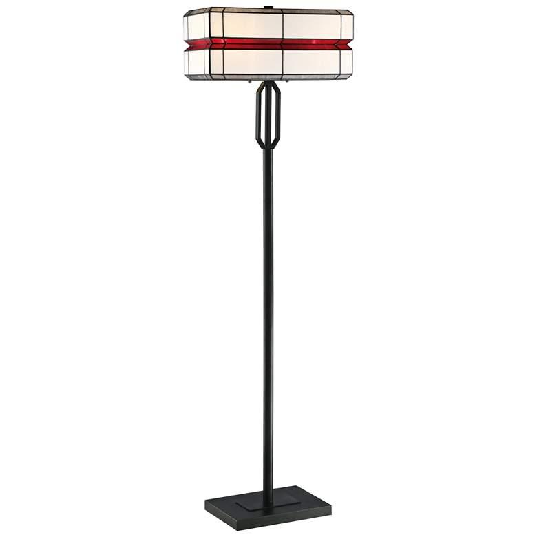 Lite Source Lacoon Matte Black Tiffany Art Glass Floor Lamp