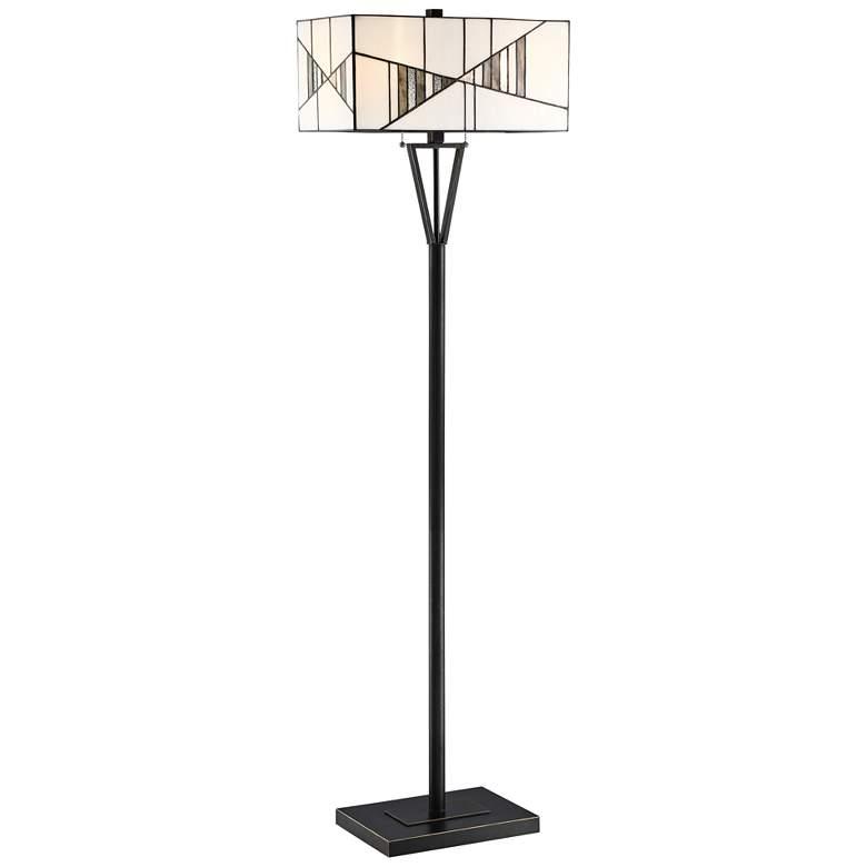 Lite Source Zellah Antique Black Tiffany Glass Floor Lamp