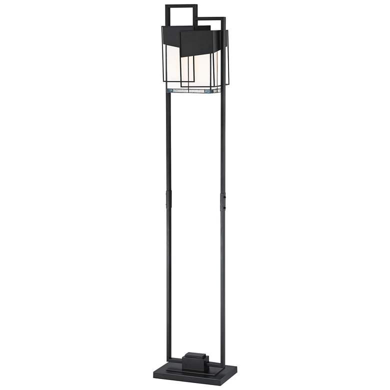 Lite Source Tellason Matte Black Art Glass Floor Lamp