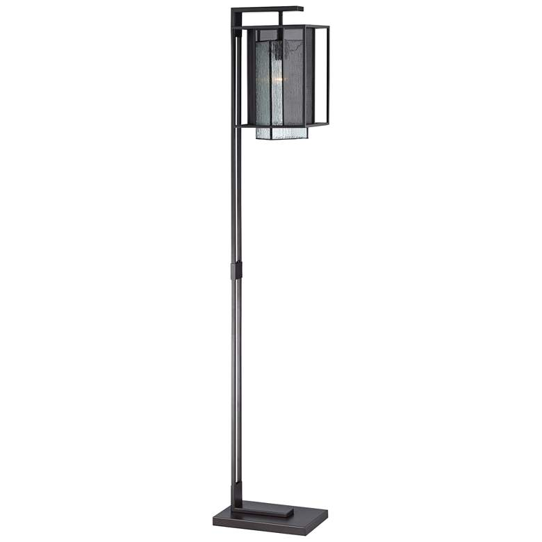 Lite Source Silveny Matte Black and Glass Floor Lamp