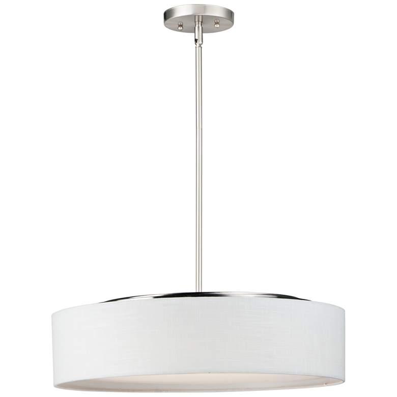 """Maxim Prime 20"""" Wide White Linen Shade LED Pendant Light"""