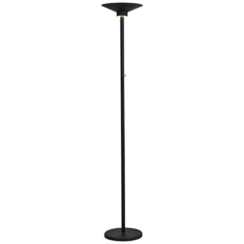 Lite Source Sappho Black LED Torchiere Lamp with Down Light