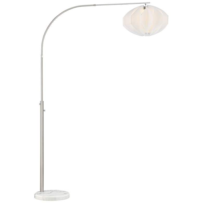 Lite Source Reina Brushed Nickel Arc Lamp with White Shade