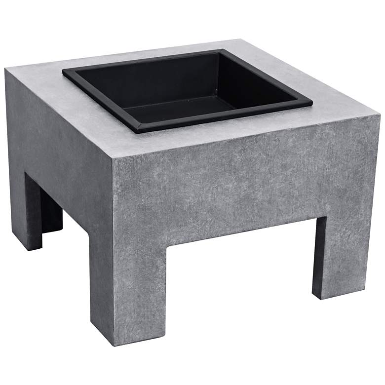 "Astella Monolith 23""W Light Gray Ceramic Outdoor Fire"
