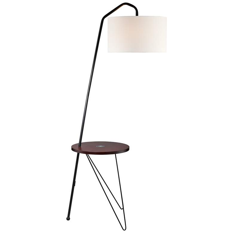 Lite Source Rutherford Black Floor Lamp with Tray Table