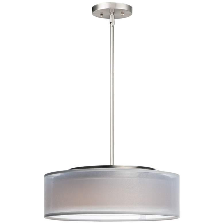 "Maxim Prime 16"" Wide White Organza Shade LED Pendant Light"