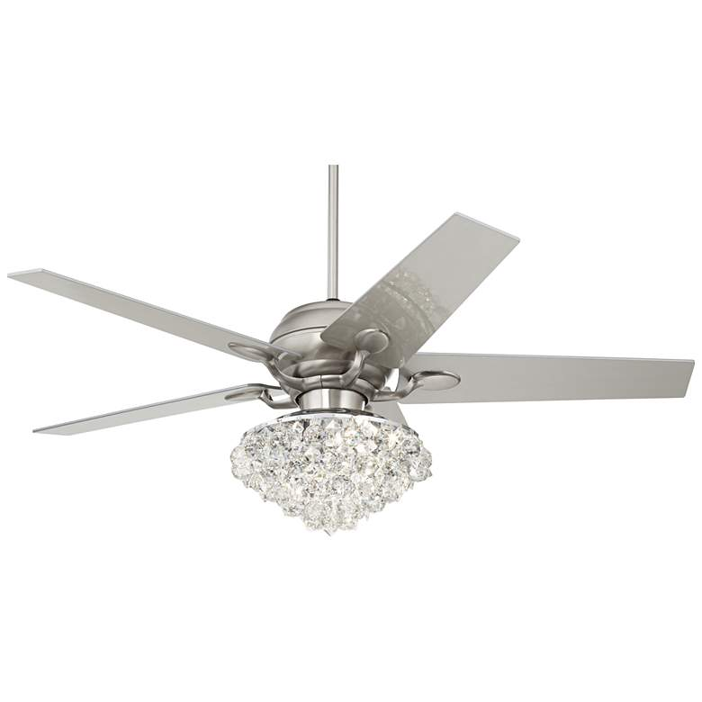 "52"" Casa Optima Brushed Nickel Crystal LED Ceiling Fan"