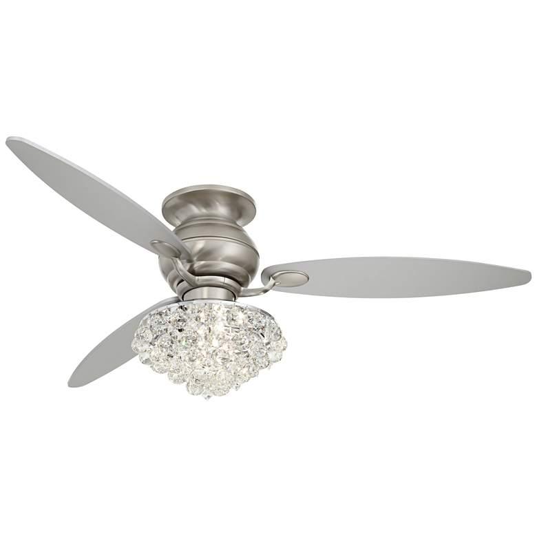 """60"""" Spyder Brushed Nickel Crystal Hugger LED Ceiling Fan"""
