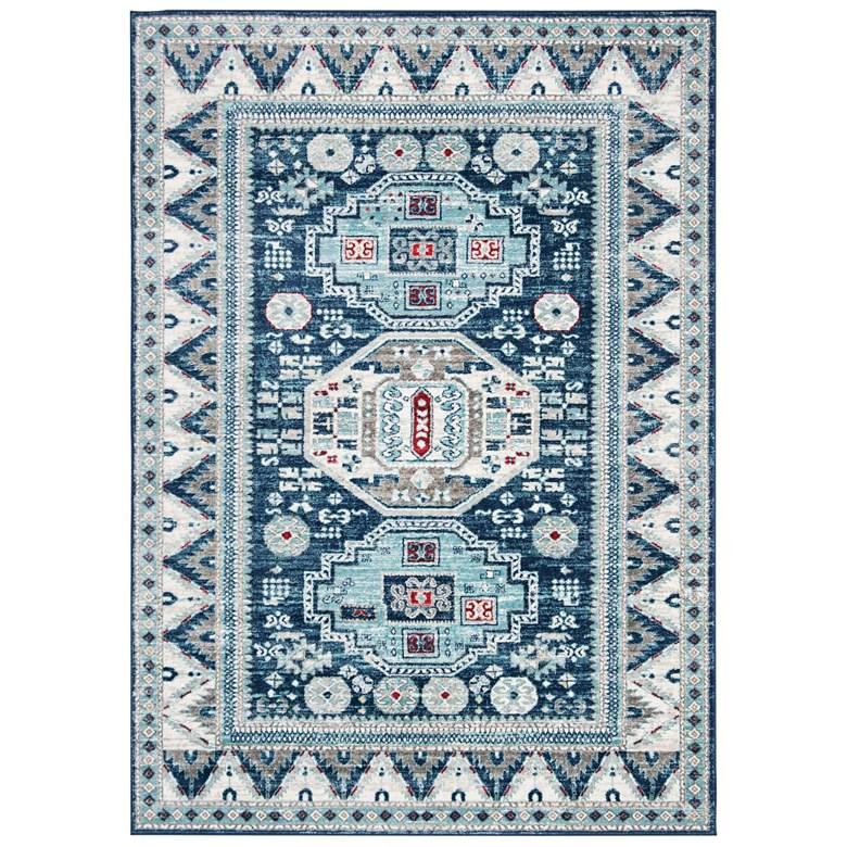 "Safavieh Kazak 118 5'3""x7'6"" Blue and Creme Oriental Rug"