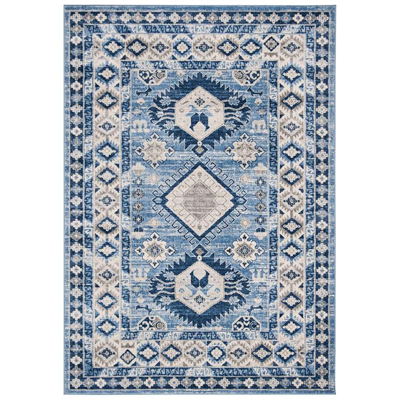 "Safavieh Kazak 100 5'3""x7'6"" Blue and Creme Oriental Rug"