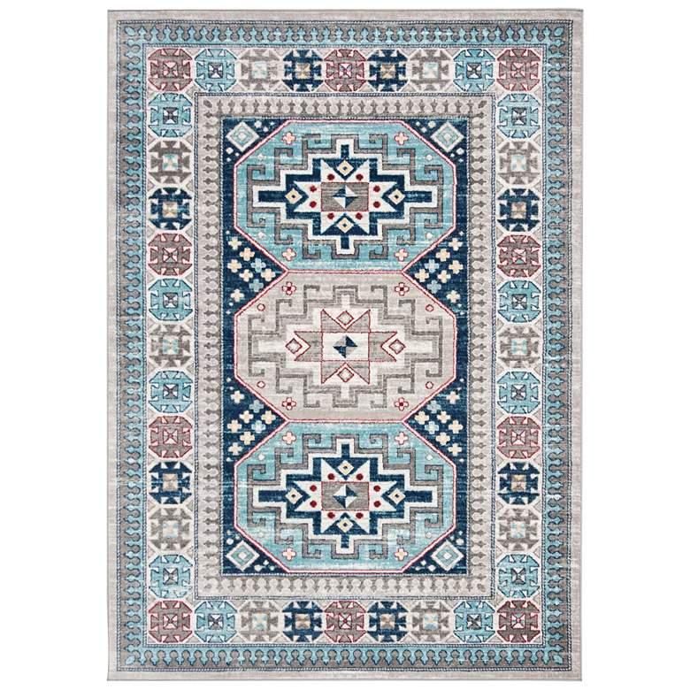 "Safavieh Kazak 100 5'3""x7'6"" Gray and Blue Oriental Area"