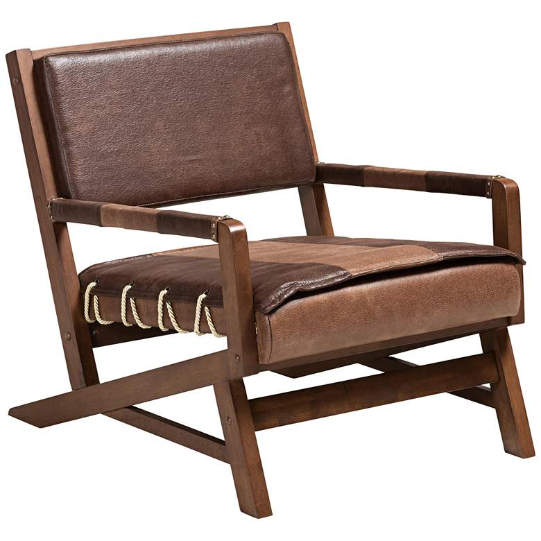 Rovelyn Brown Faux Leather and Walnut Wood Lounge Chair