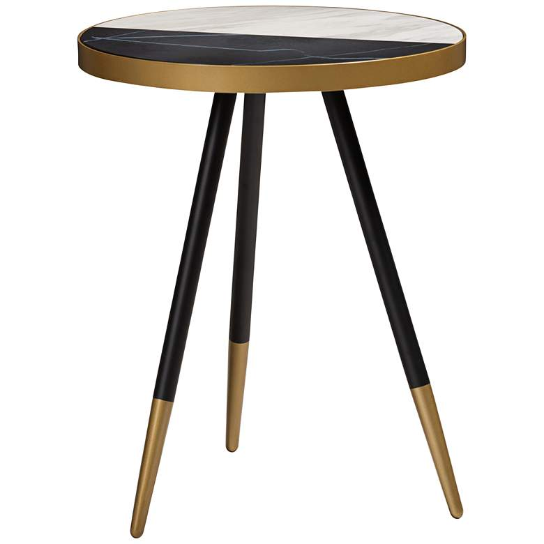 "Baxton Studio Lauro 17""W Round Glossy Marble Top End Table"