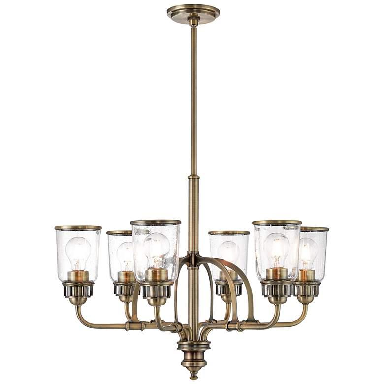 "Lawrenceville 26 1/4"" Wide Antique Brass 6-Light Chandelier"