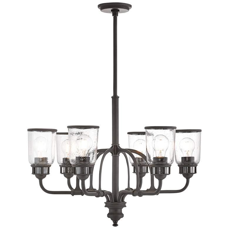 """Lawrenceville 26 1/4""""W Bronze Clear Glass 6-Light Chandelier"""