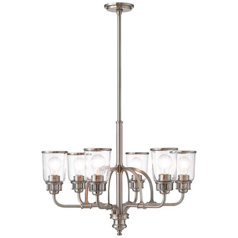 "Lawrenceville 26 1/4""W Nickel Clear Glass 6-Light Chandelier"