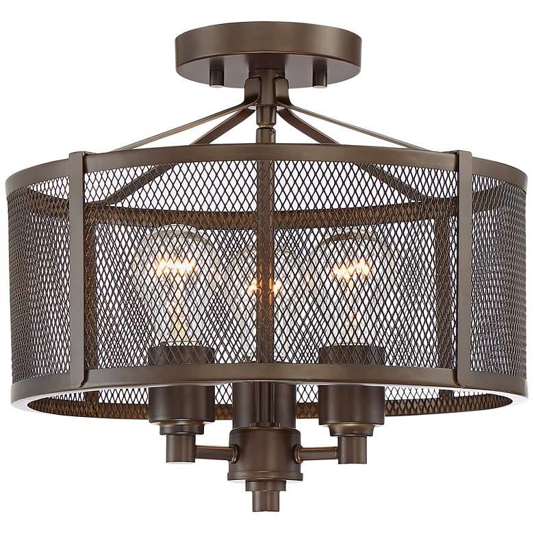 """Ashlea 14"""" Wide Bronze Mesh 3-Light Ceiling Light"""