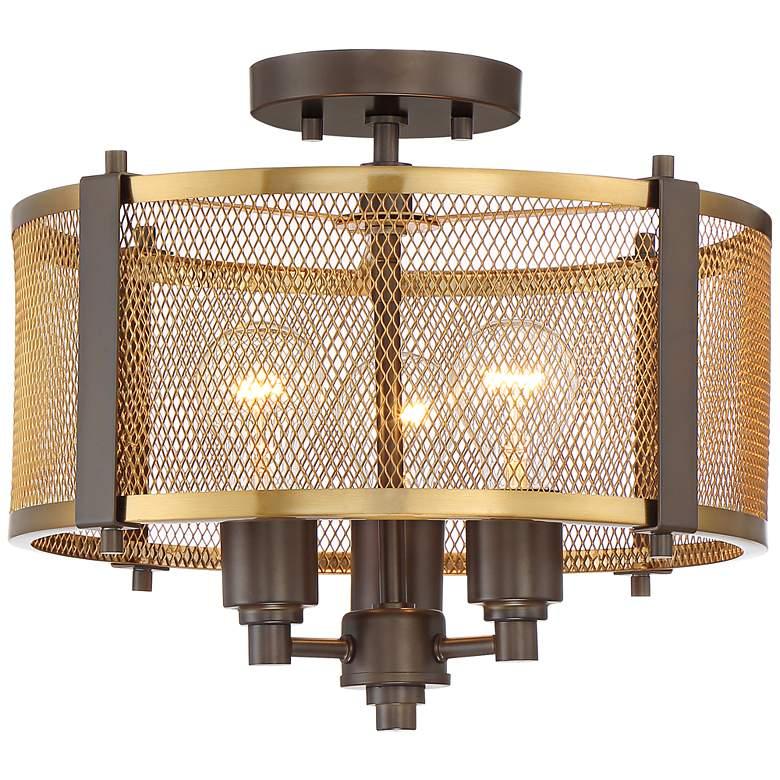 """Ashlea 14 1/2"""" Wide Brass Mesh 3-Light Ceiling Light"""