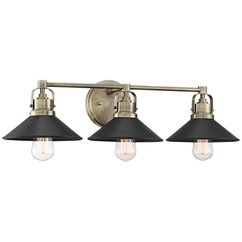 """Possini Euro Clive 27""""W Brass and Black 3-Light Bath Light"""