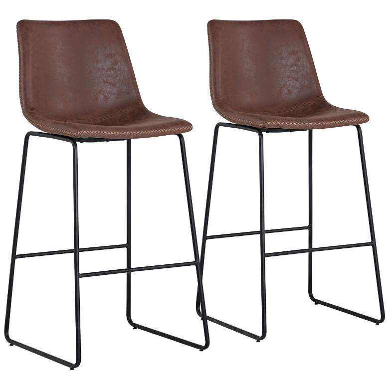 """Cal 30"""" Brown Faux Leather Bar Stools Set of 2"""