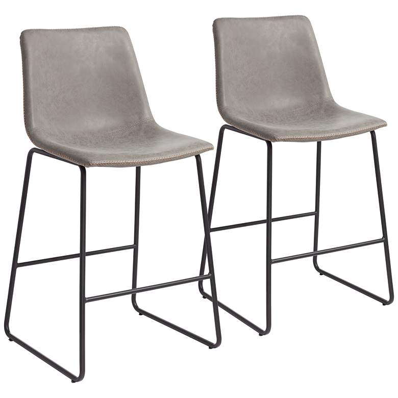 """Cal 26"""" Gray Faux Leather Counter Stools Set of 2"""