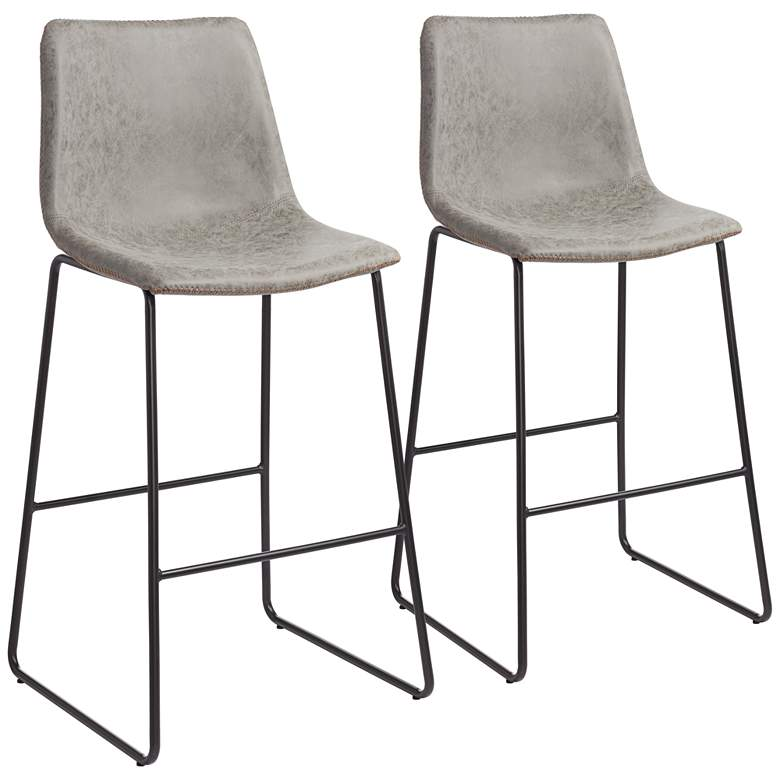 """Cal 30"""" Gray Faux Leather Bar Stools Set of 2"""
