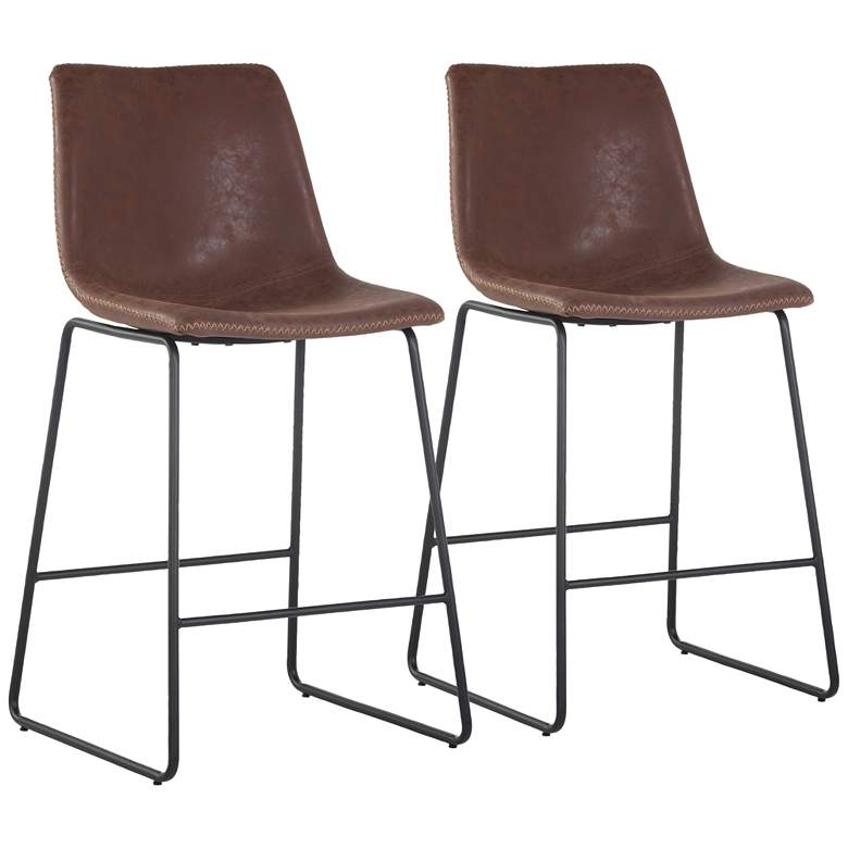 """Cal 26"""" Brown Faux Leather Counter Stools Set of 2"""