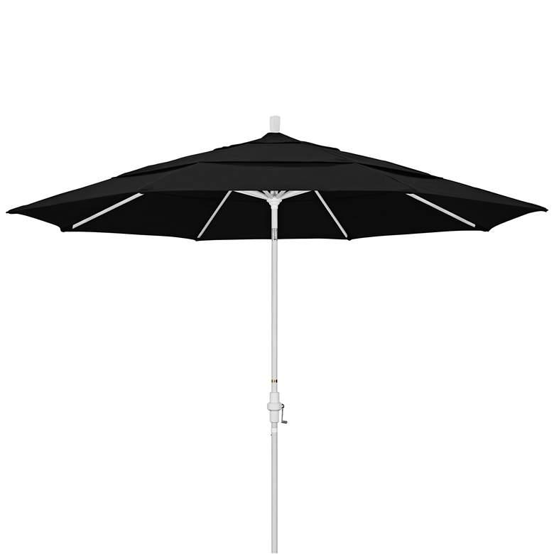 Tahoe 11-Foot Black and White Crank Tilting Patio Umbrella