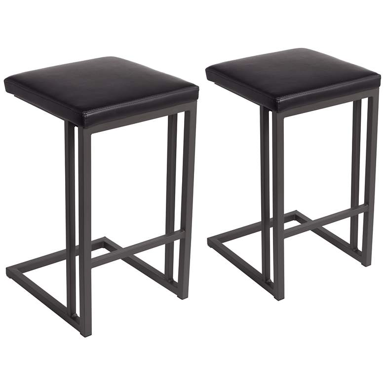 """Boone 26"""" Black Faux Leather Counter Stool Set of 2"""