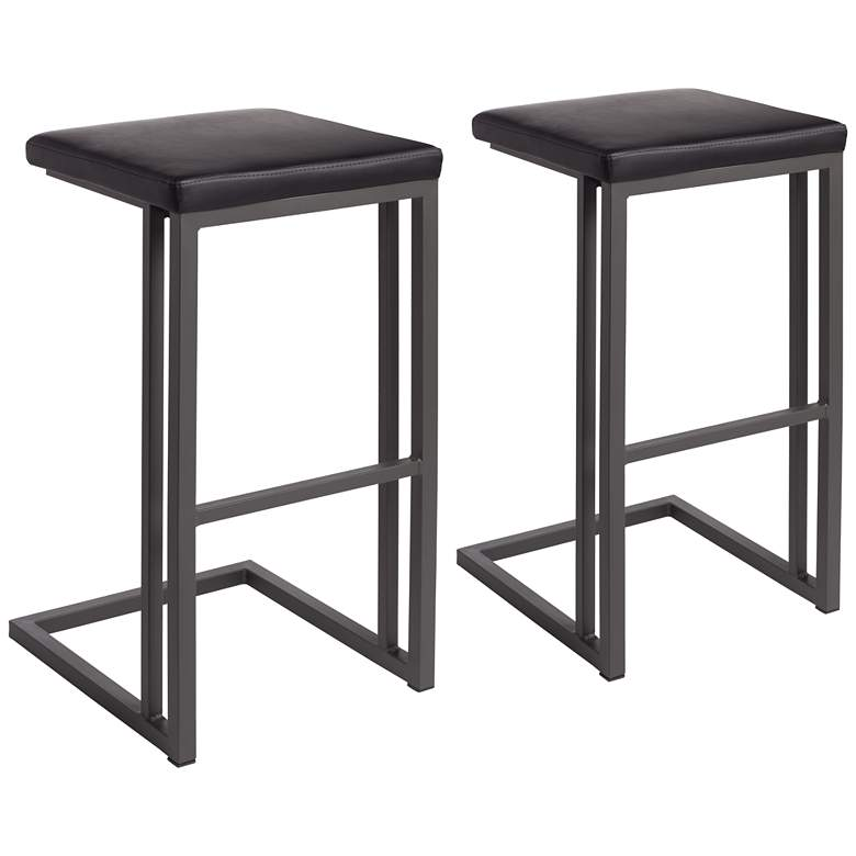 """Boone 30"""" Black Faux Leather Bar Stool Set of 2"""