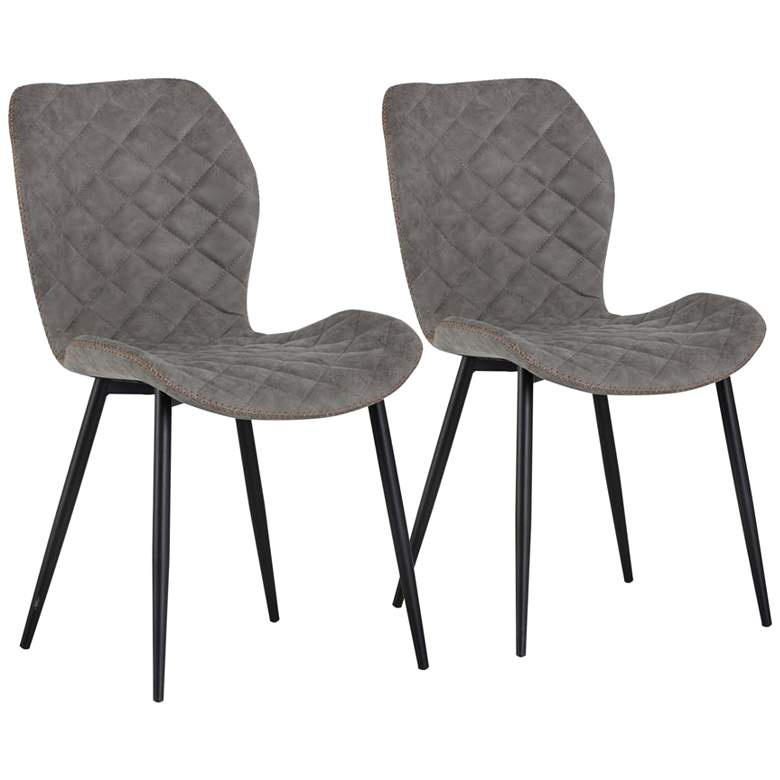 Lyle Gray Faux Leather Dining Chair Set of 2
