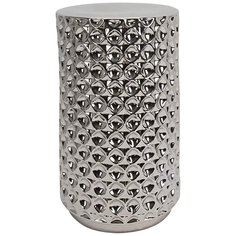 Athens Chrome Ceramic Cylinder Accent Stool