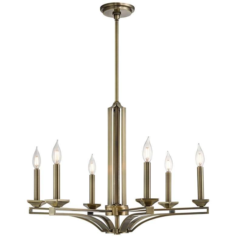 """Trumbull 26"""" Wide Antique Brass 6-Light Chandelier"""