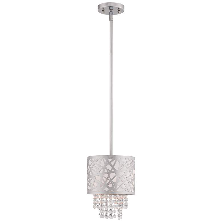 "Allendale 8"" Wide Polished Nickel and Crystal Mini Pendant"