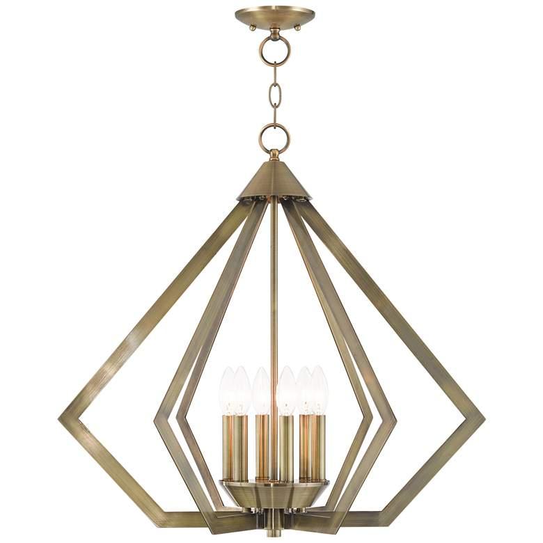 """Prism 26"""" Wide Antique Brass 6-Light Chandelier"""