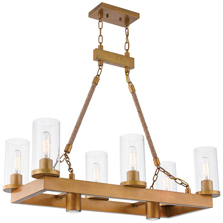 """Metuchen 34"""" Wide Aged Gold Kitchen Island Light Chandelier"""