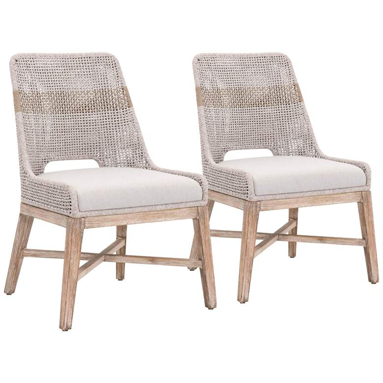 Tapestry Taupe and Gray Flat Rope Dining Chairs Set of 2
