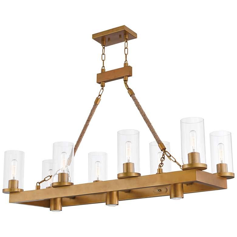 """Metuchen 44"""" Wide Aged Gold Kitchen Island Light Chandelier"""