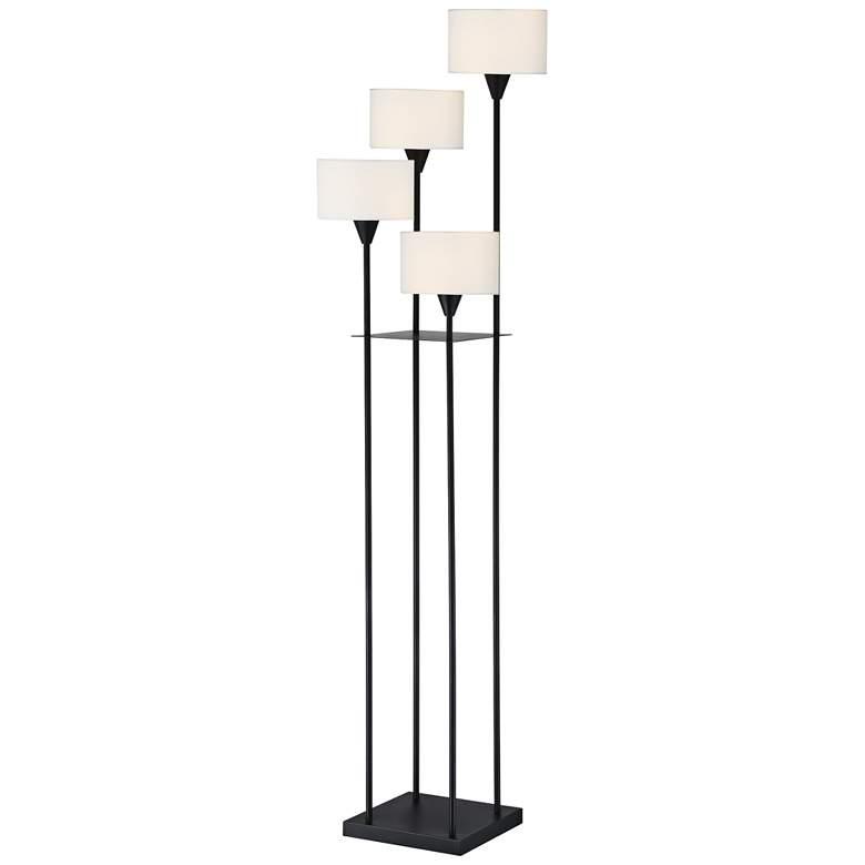 Black Metal And White Glass Tulip 4 Light Floor Lamp