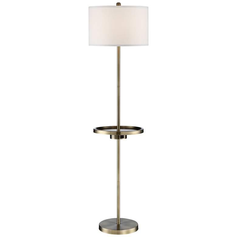 Lite Source Tungsten Antique Brass Floor Lamp w/ Tray Table
