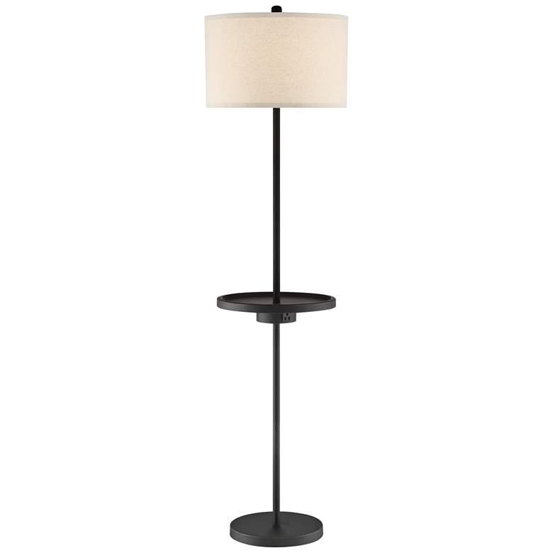 Lite Source Tungsten Dark Bronze Floor Lamp with Tray Table
