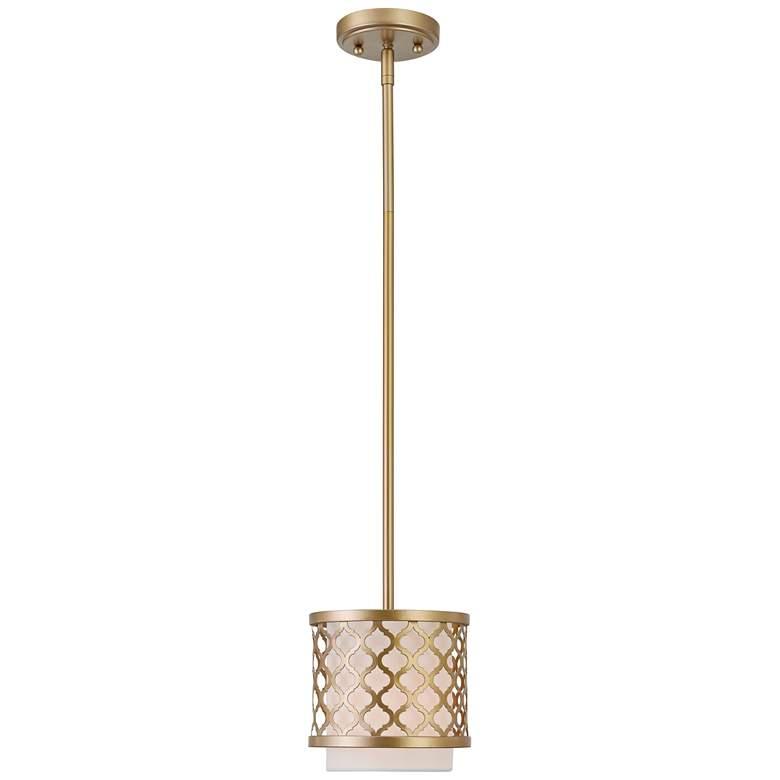 """Arabesque 7"""" Wide Soft Gold Drum Mini Pendant"""