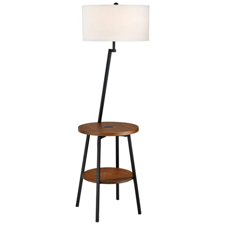 Lemington Black End Table Floor Lamp with White Shade
