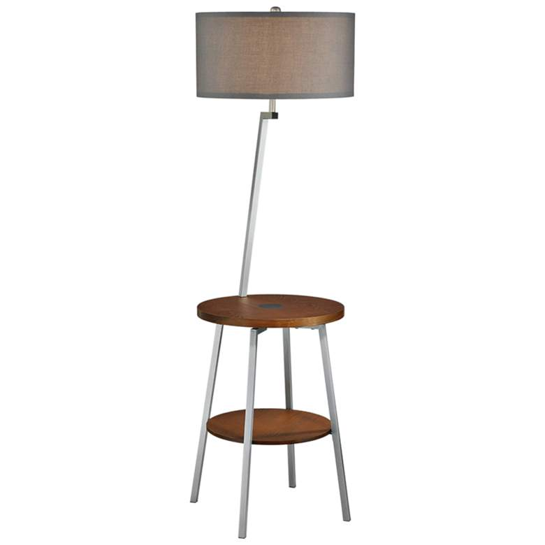 Lemington Silver End Table Floor Lamp with Gray Shade