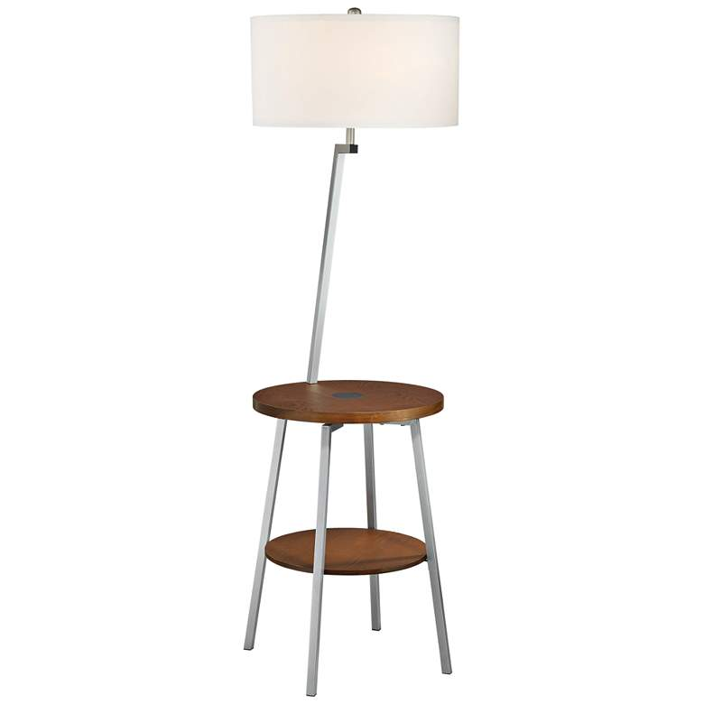 Lemington Silver End Table Floor Lamp with White Shade