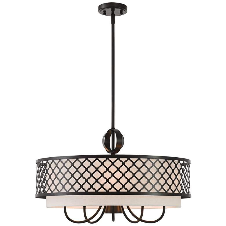 "Arabesque 24""W English Bronze Drum Pendant with Downlight"