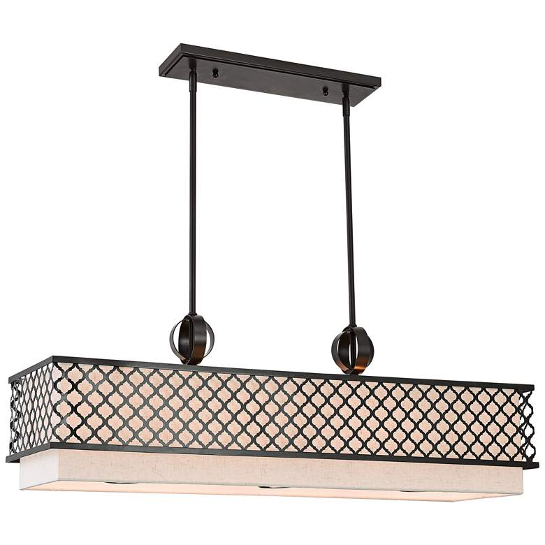 "Arabesque 39 3/4"" Wide Bronze Kitchen Island Light Pendant"